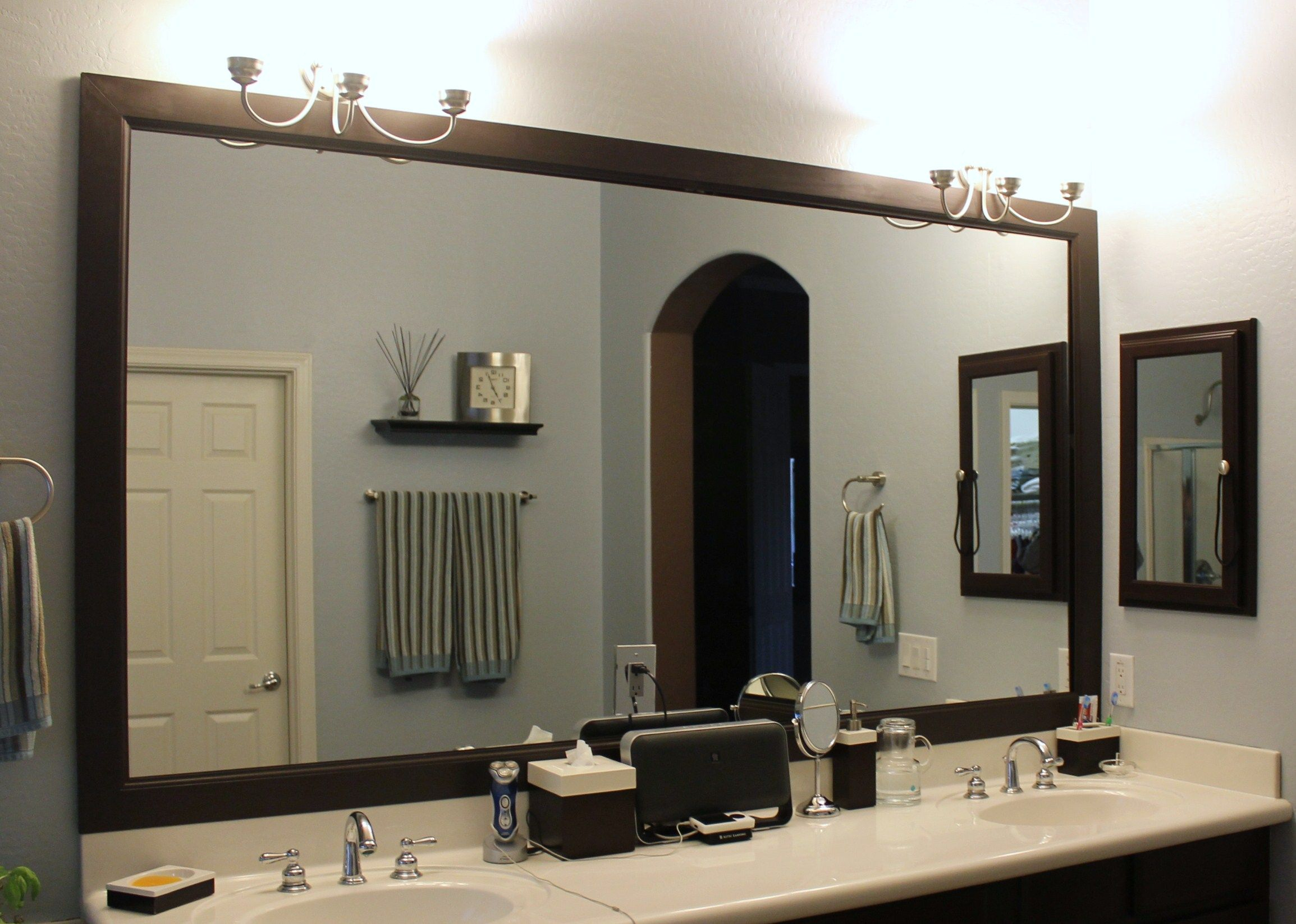 Diy Bathroom Mirror Frame Wood Baseboard Molding Mitered within proportions 2309 X 1647
