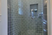 Frameless Shower With Smoky Blue Gray Subway Tile Rooms regarding size 736 X 1255