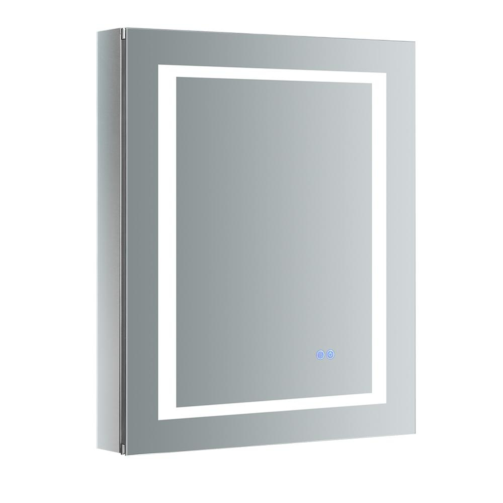 Fresca Spazio 24 In W X 30 In H Recessed Or Surface Mount Medicine Cabinet With Led Lighting Mirror Defogger And Left Hinge pertaining to sizing 1000 X 1000