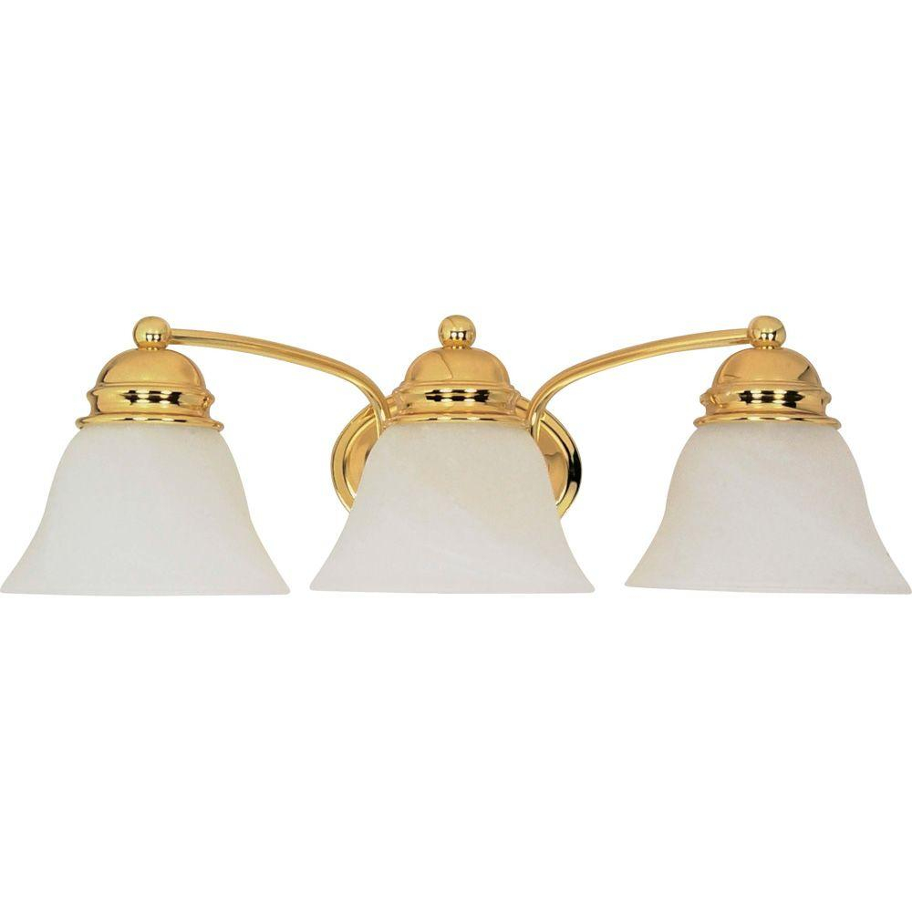 Glomar Nuwa 3 Light Polished Brass Bath Vanity Light With Alabaster Glass with proportions 1000 X 1000