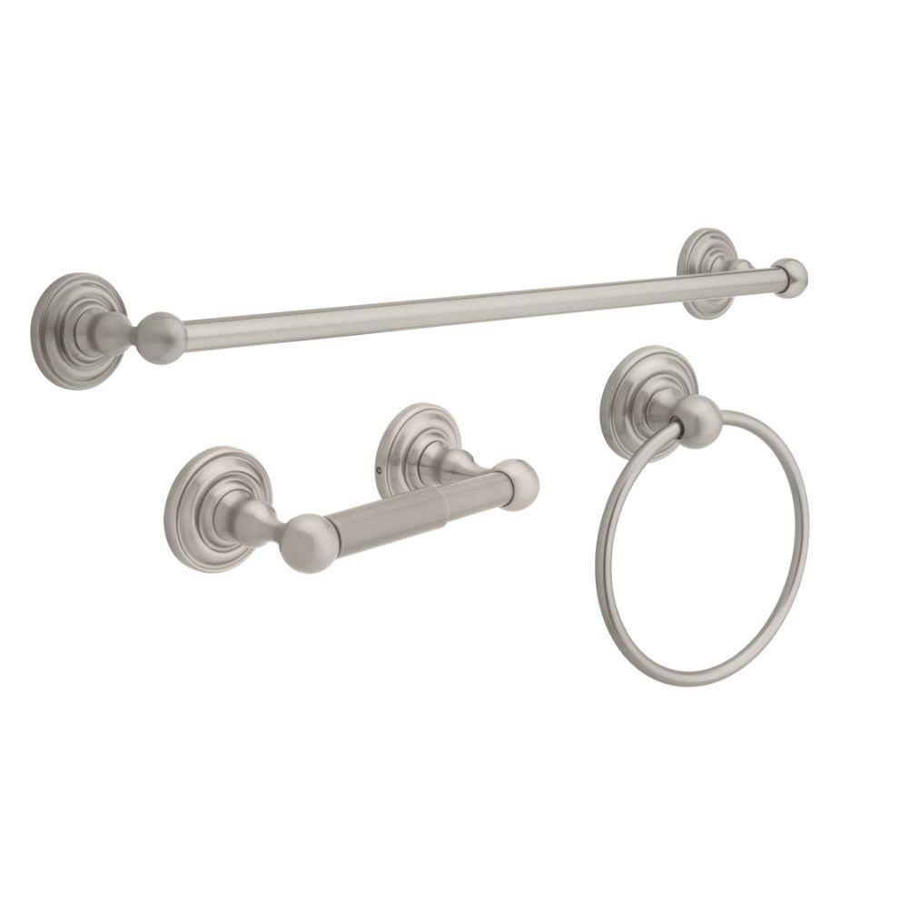 Greenwich 3 Piece Bath Hardware Set With Towel Ring Toilet Paper Holder And 24 In Towel Bar In Brushed Nickel in proportions 1000 X 1000