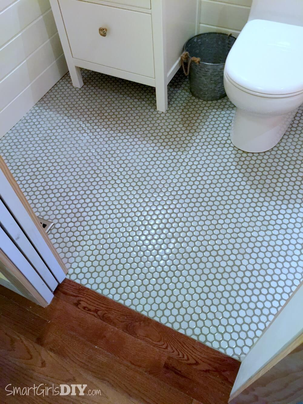 Guest Bathroom 7 Diy Hex Tile Floor intended for dimensions 1000 X 1333