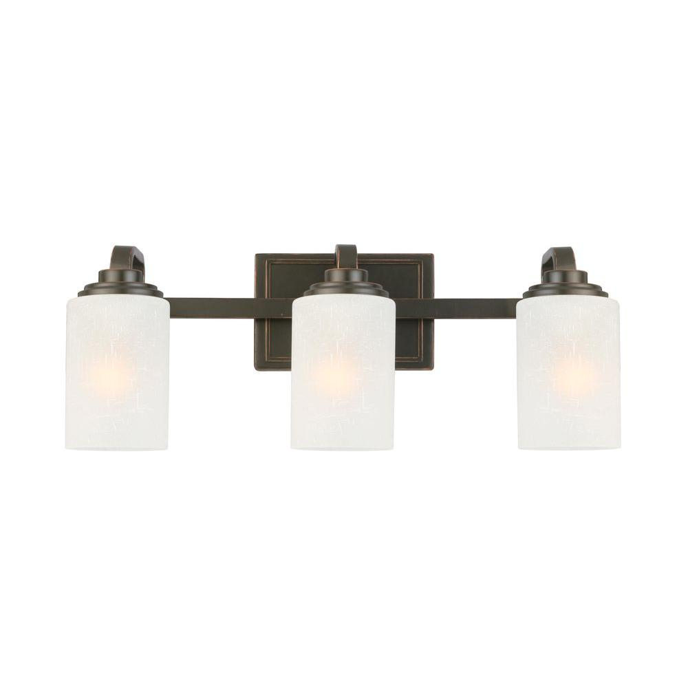 Hampton Bay 3 Light Oil Rubbed Bronze Vanity Light With Frosted Patterned Glass Shade with dimensions 1000 X 1000