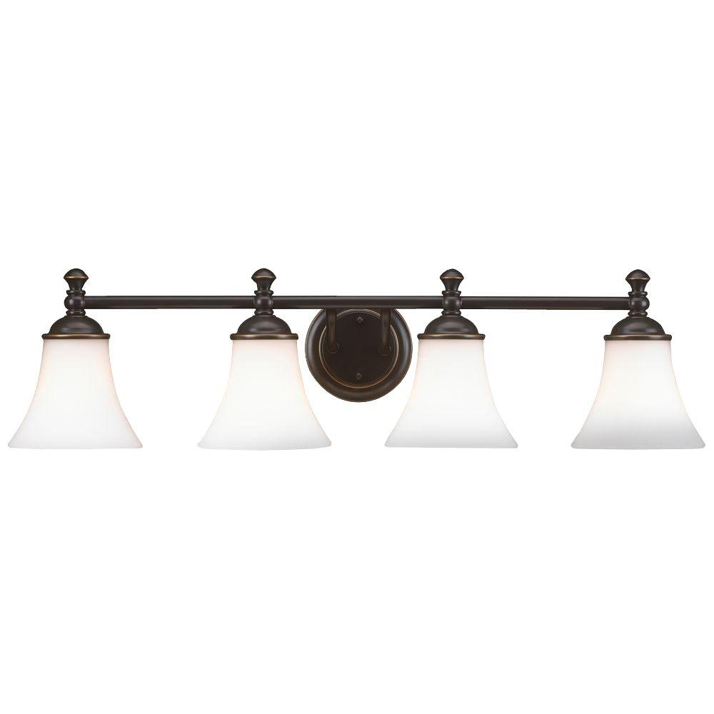 Hampton Bay Crawley 4 Light Oil Rubbed Bronze Vanity Light With White Glass Shades with size 1000 X 1000