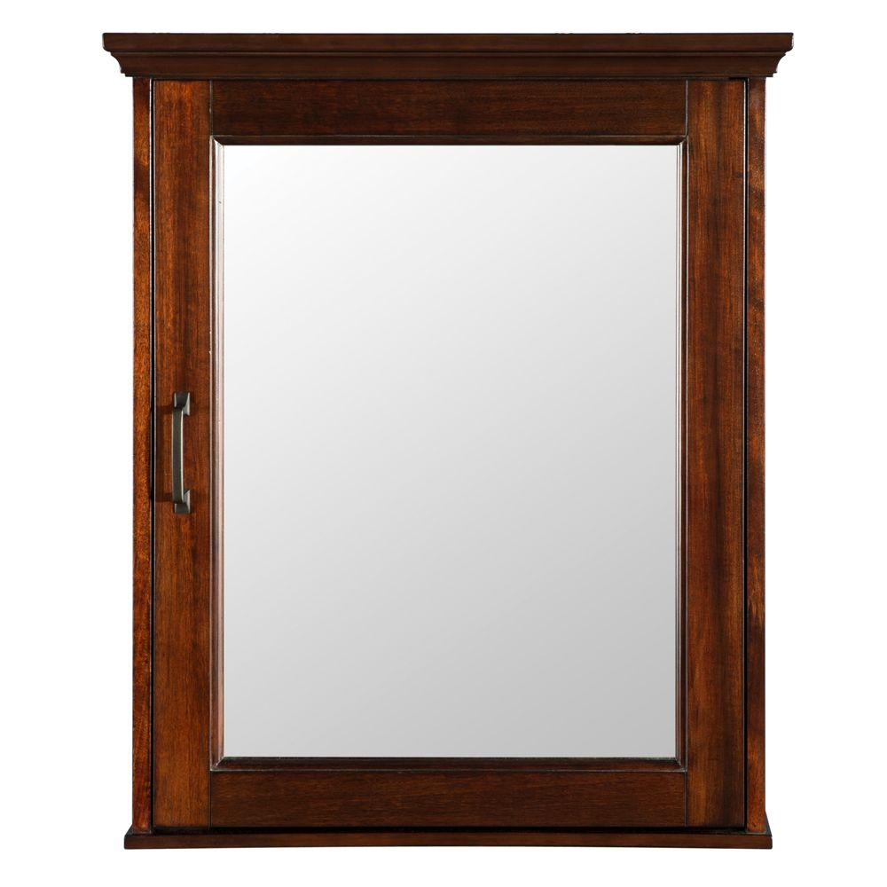 Home Decorators Collection Ashburn 23 In W X 28 In H X 7 34 In D Framed Surface Mount Bathroom Medicine Cabinet In Mahogany regarding size 1000 X 1000