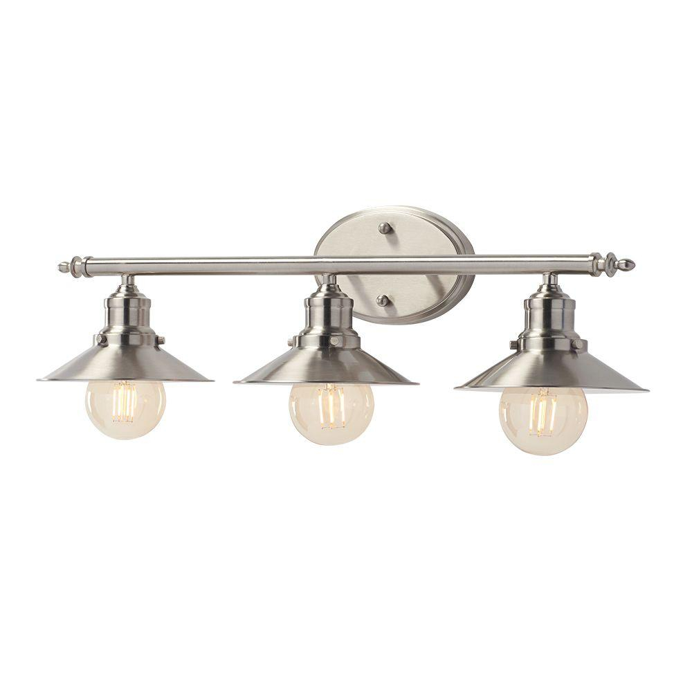 Home Decorators Collection Glenhurst 3 Light Brushed Nickel Retro Vanity Light With Metal Shades for dimensions 1000 X 1000