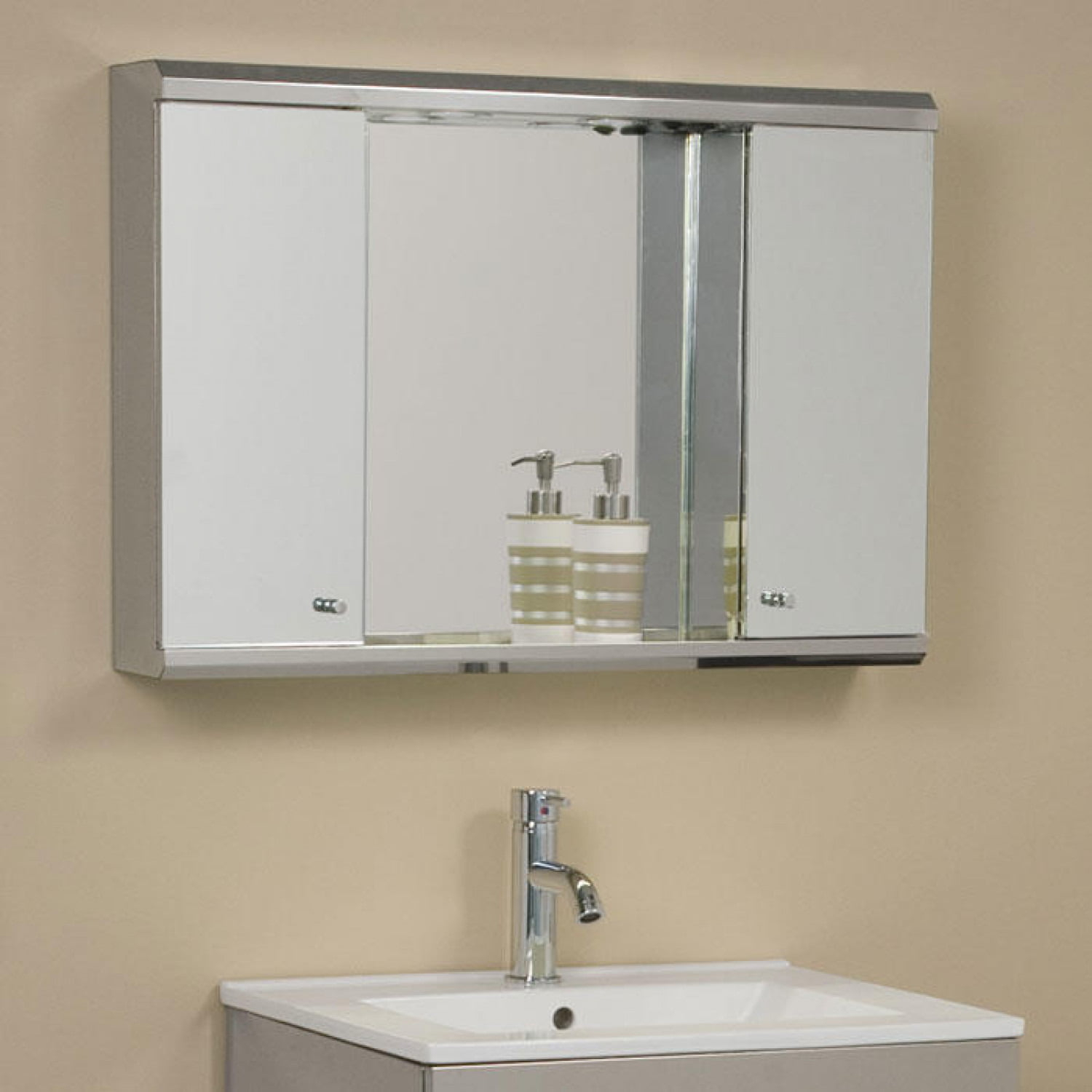 Illumine Dual Stainless Steel Medicine Cabinet With Lighted Mirror inside measurements 1500 X 1500