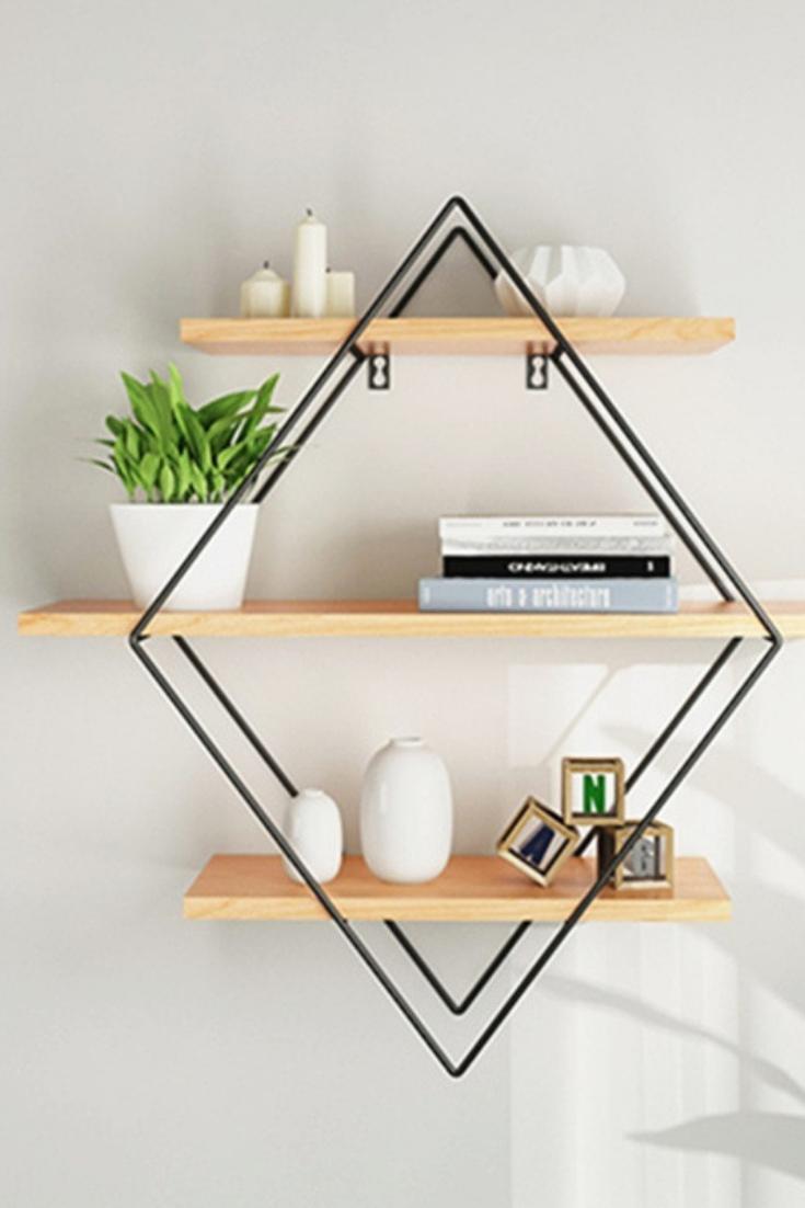 Iron Metal Retro Wood Wall Storage Shelves Rhombus Bookshelf pertaining to dimensions 735 X 1102