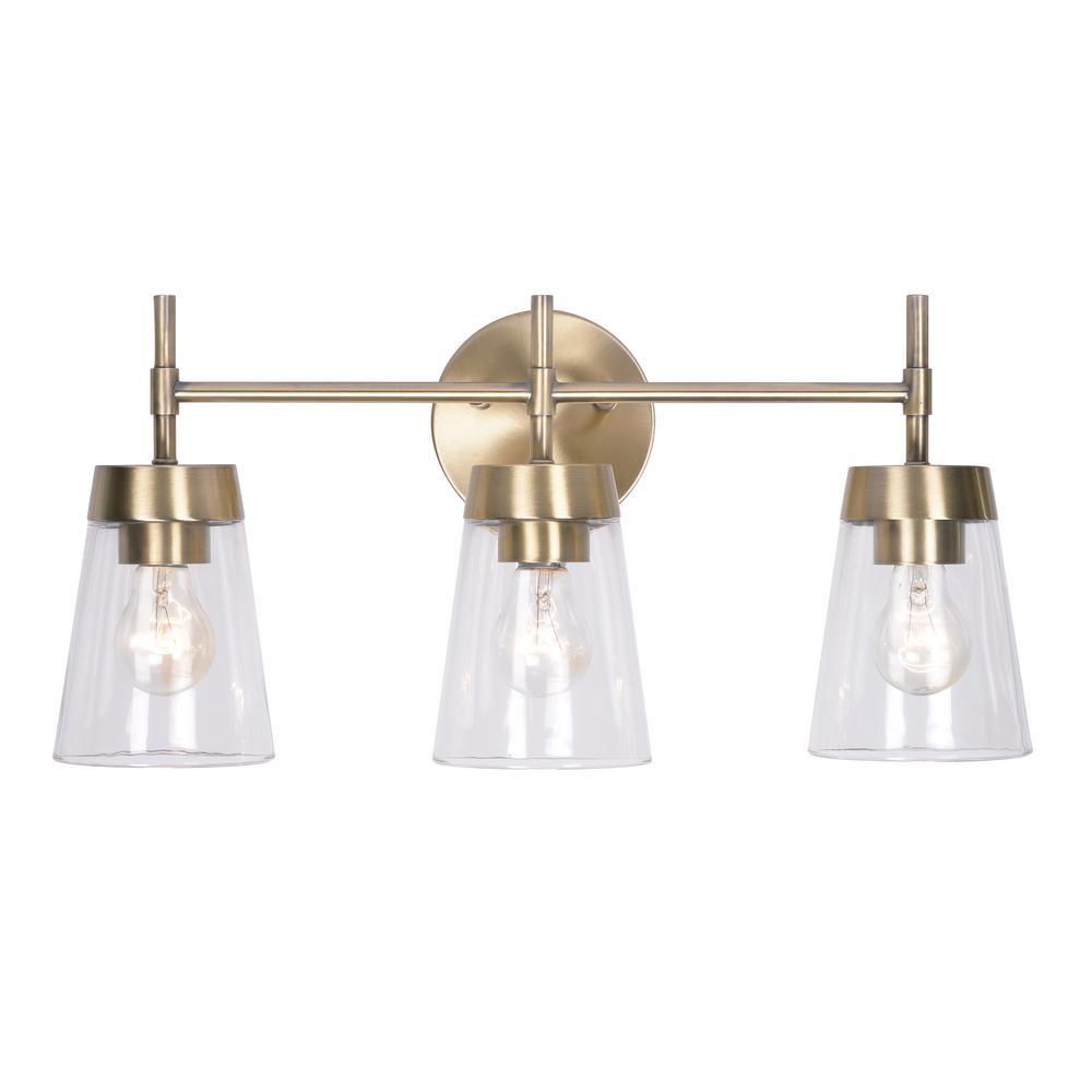 Kenroy Home Delgado 3 Light Antique Brass Bathroom Vanity Light with regard to proportions 1000 X 1000