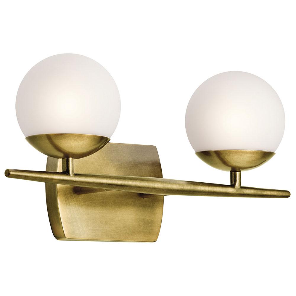Kichler 45581nbr Jasper Modern Natural Brass Halogen 2 Light Bathroom Vanity Light Fixture in sizing 1000 X 1000