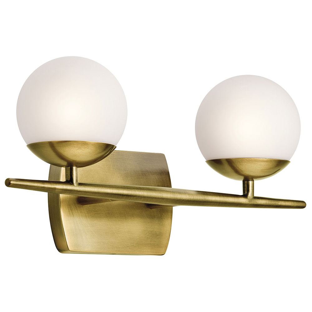 Kichler 45581nbr Jasper Modern Natural Brass Halogen 2 Light Bathroom Vanity Light Fixture throughout size 1000 X 1000