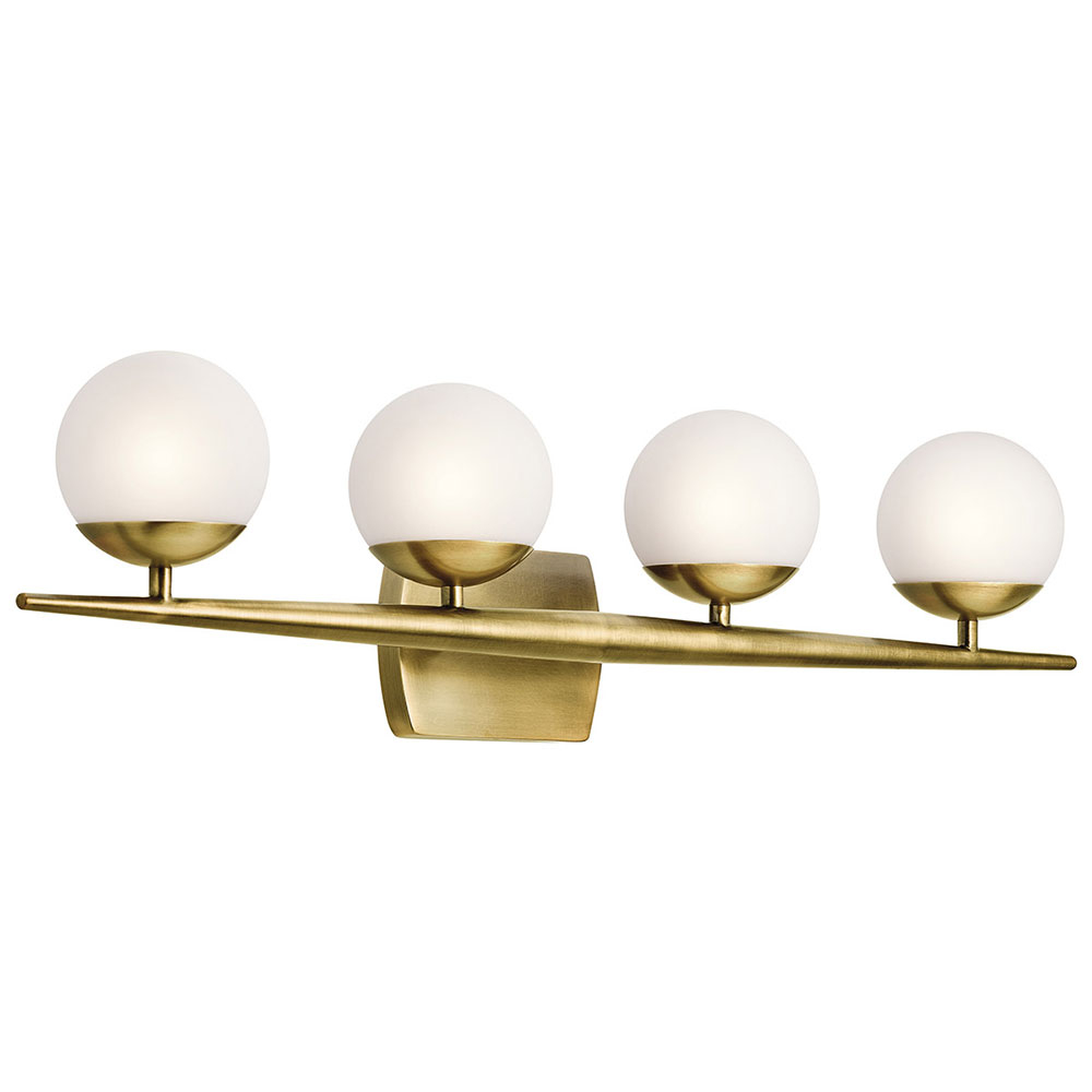 Kichler 45583nbr Jasper Modern Natural Brass Halogen 4 Light Bathroom Lighting Sconce intended for dimensions 1000 X 1000