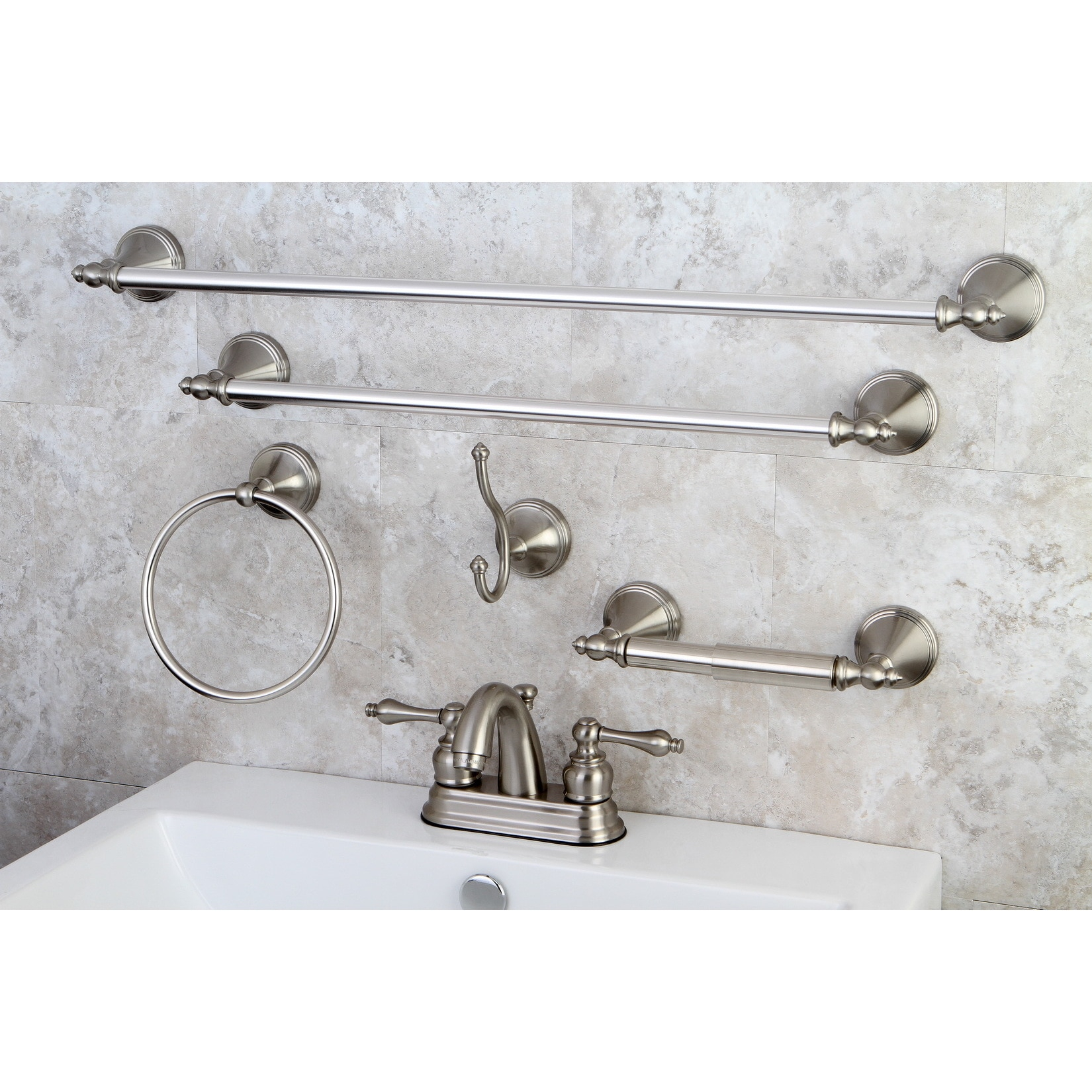 Kingston Brass Modern Satin Nickel Metal Faucet Towel Rack Bathroom Faucet Bathroom Accessory Set regarding proportions 1650 X 1650