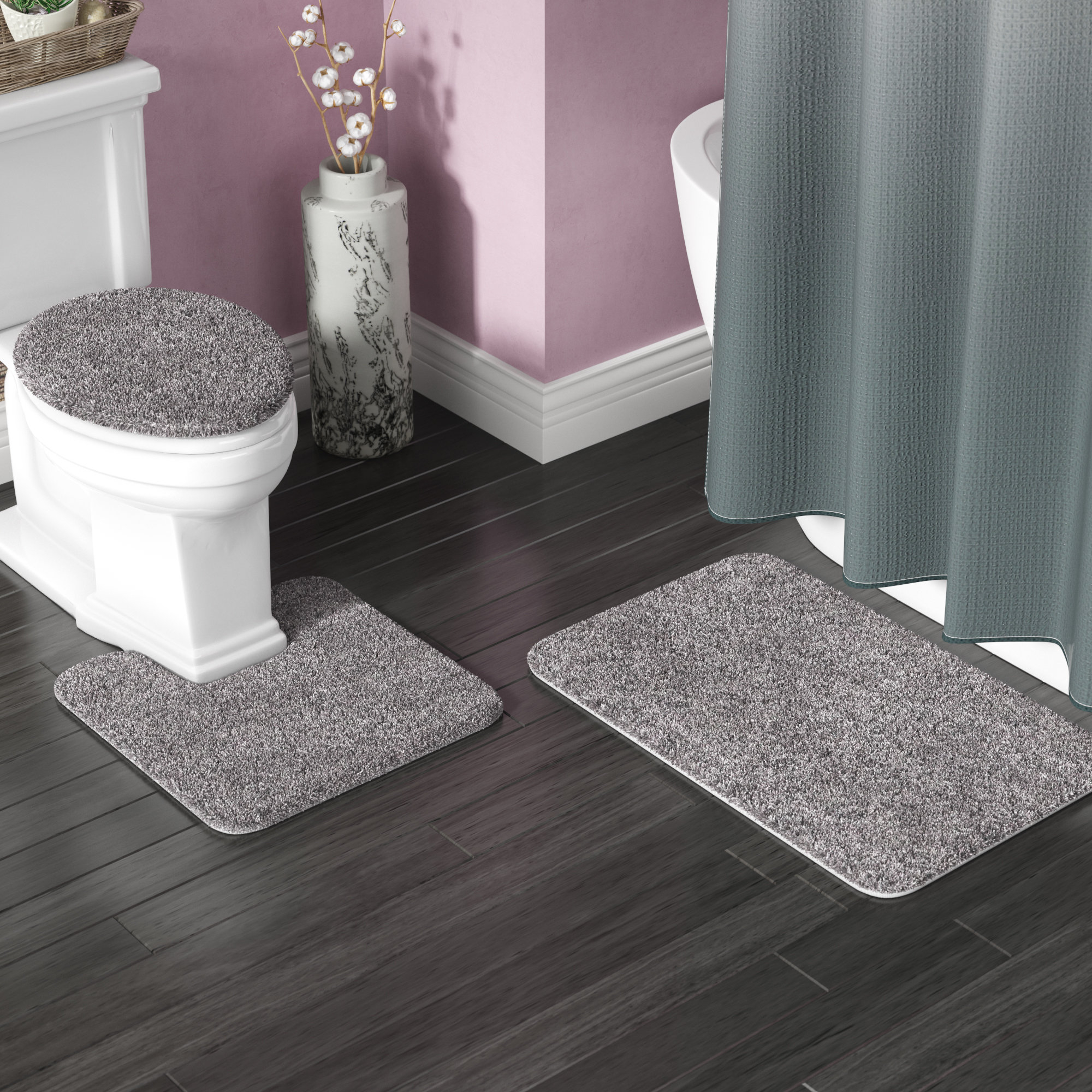 Kober 3 Piece Solid Bath Mat Set for sizing 2000 X 2000
