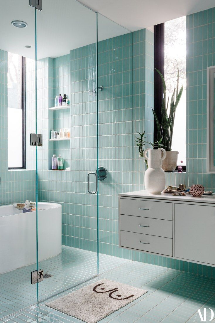 Light Teal Bathroom With Floating Sink Counter Lay Your with regard to measurements 733 X 1100