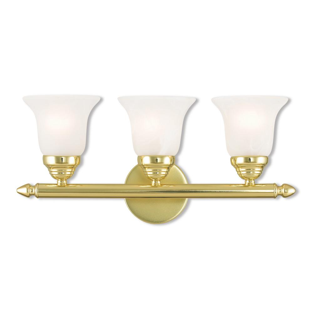 Livex Lighting Neptune 3 Light Polished Brass Bath Light with measurements 1000 X 1000
