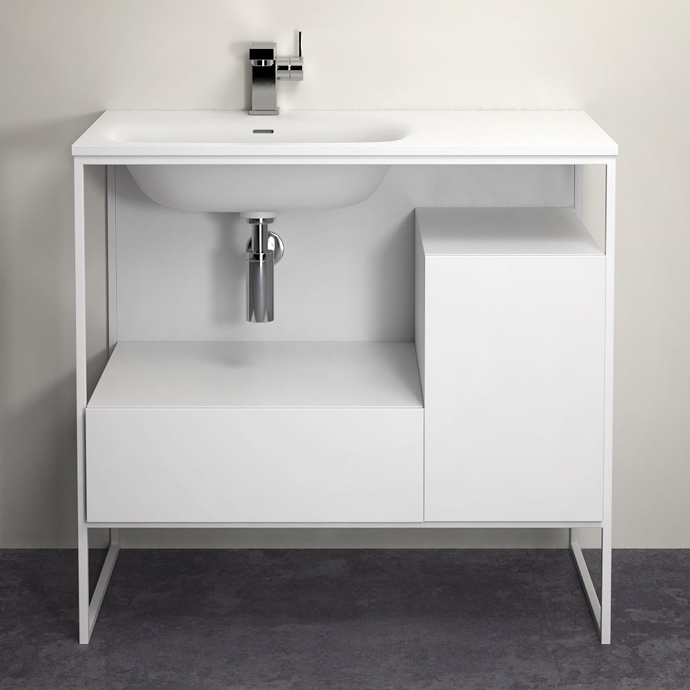 Lusso Stone Luxe 900 Matte White Framed Freestanding Bathroom Vanity Unit throughout size 1000 X 1000