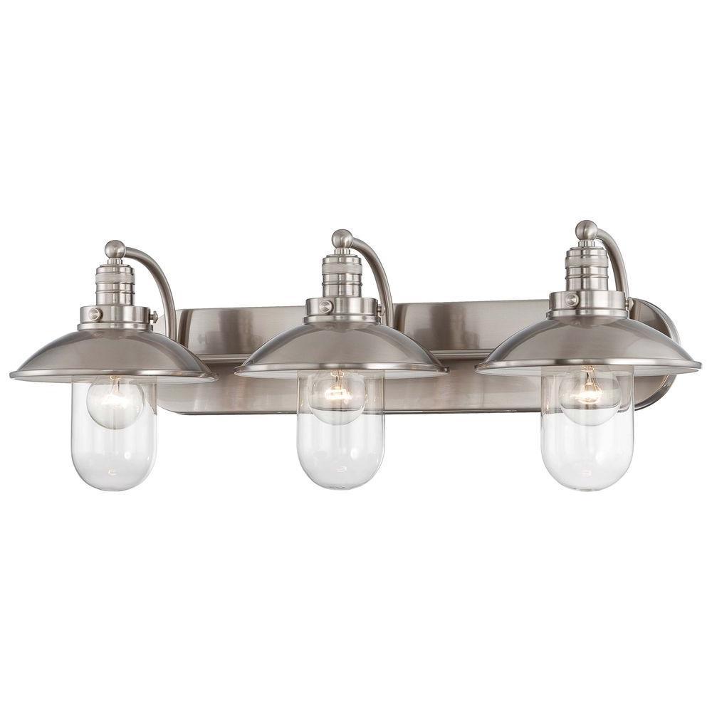 Minka Lavery Downtown Edison 3 Light Brushed Nickel Bath Light for size 1000 X 1000