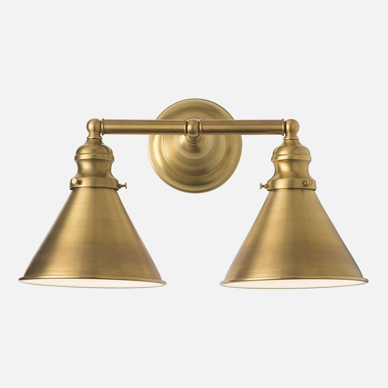 Montclair Wall Double Sconce Natural Brass Schoolhouse with regard to sizing 1500 X 1500