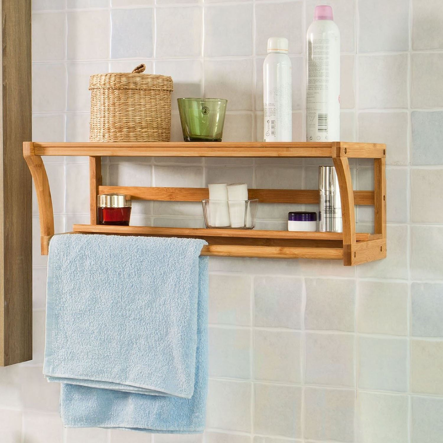 New Bamboo Wall Mounted Wood Shelf Rack Towel Rail Holder intended for dimensions 1500 X 1500