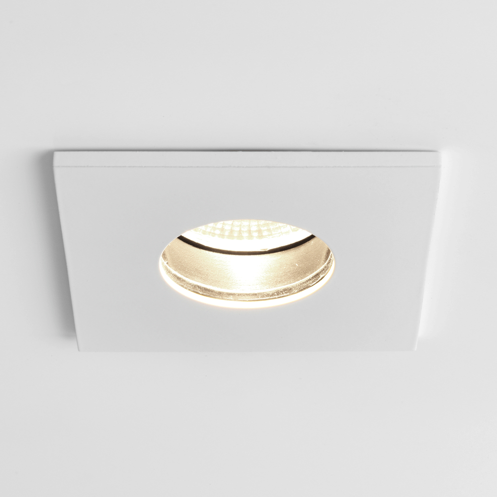 Obscura Square Ip65 Led Bathroom Downlight In White throughout sizing 1000 X 1000
