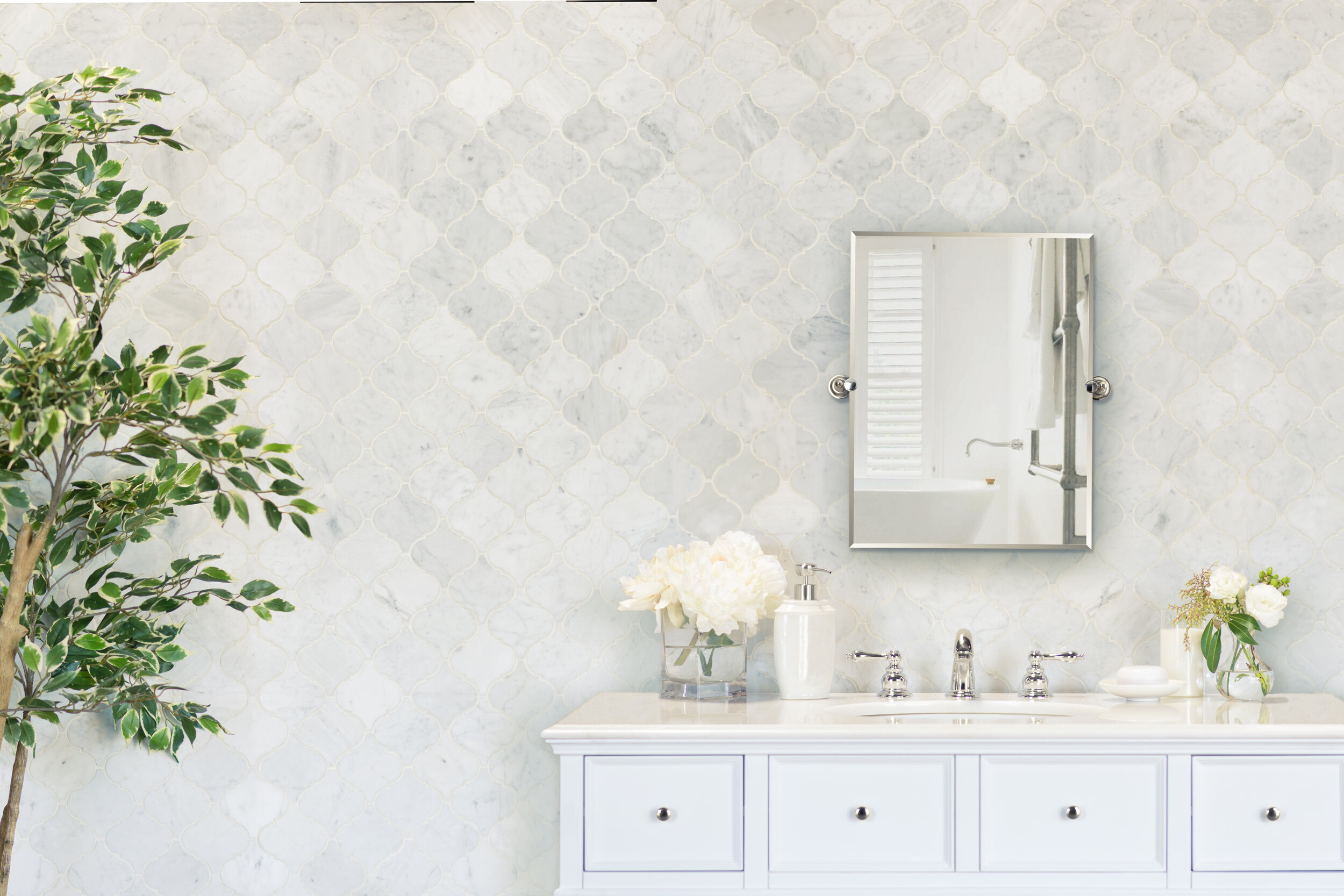 Polished 3 X 4 Marble Mosaic Tile In White Carrara within dimensions 2500 X 1667