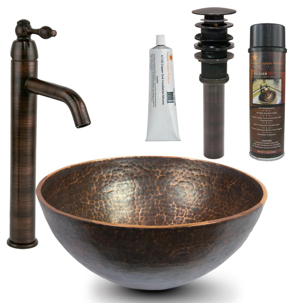 Premier Copper Products All In One Round 13 In Hand Forged Old World Copper Vessel Sink And Faucet In Oil Rubbed Bronze with regard to size 1000 X 1000