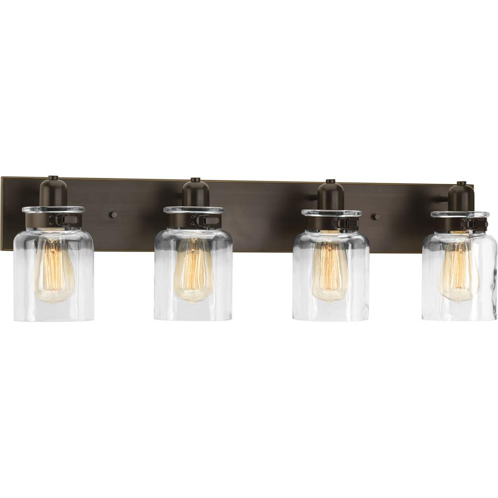 Progress Lighting Calhoun Collection 3025 In 4 Light Antique Bronze Bathroom Vanity Light With Glass Shades inside proportions 1000 X 1000