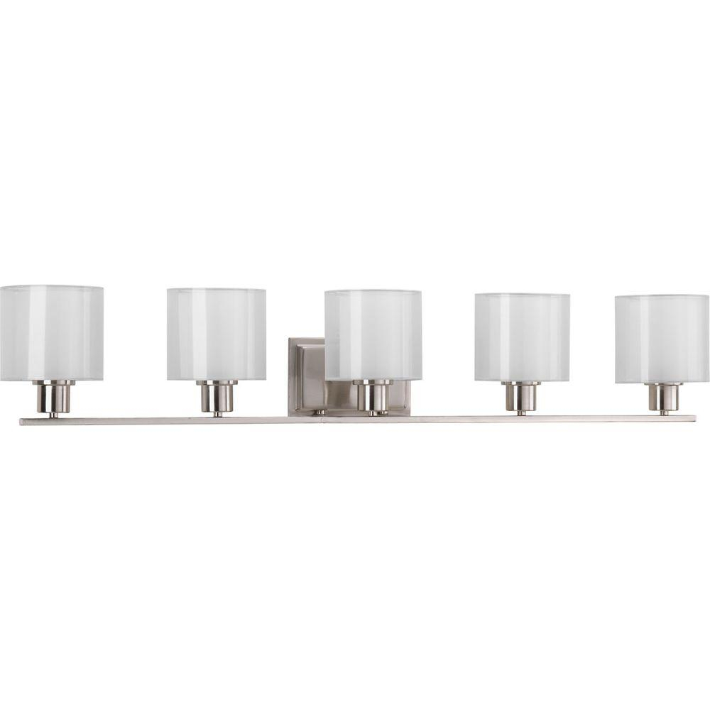 Progress Lighting Invite Collection 415 In 5 Light Brushed Nickel Bathroom Vanity Light for proportions 1000 X 1000