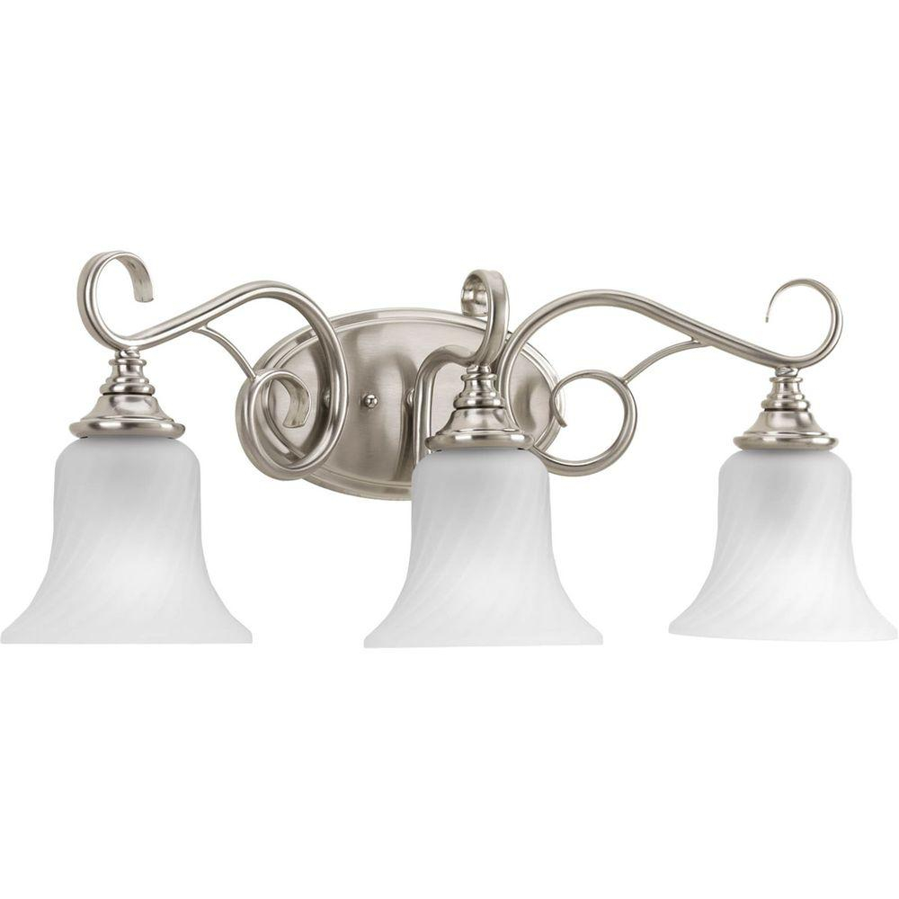 Progress Lighting Kensington Collection 2413 In 3 Light Brushed Nickel Bathroom Vanity Light With Glass Shades for sizing 1000 X 1000