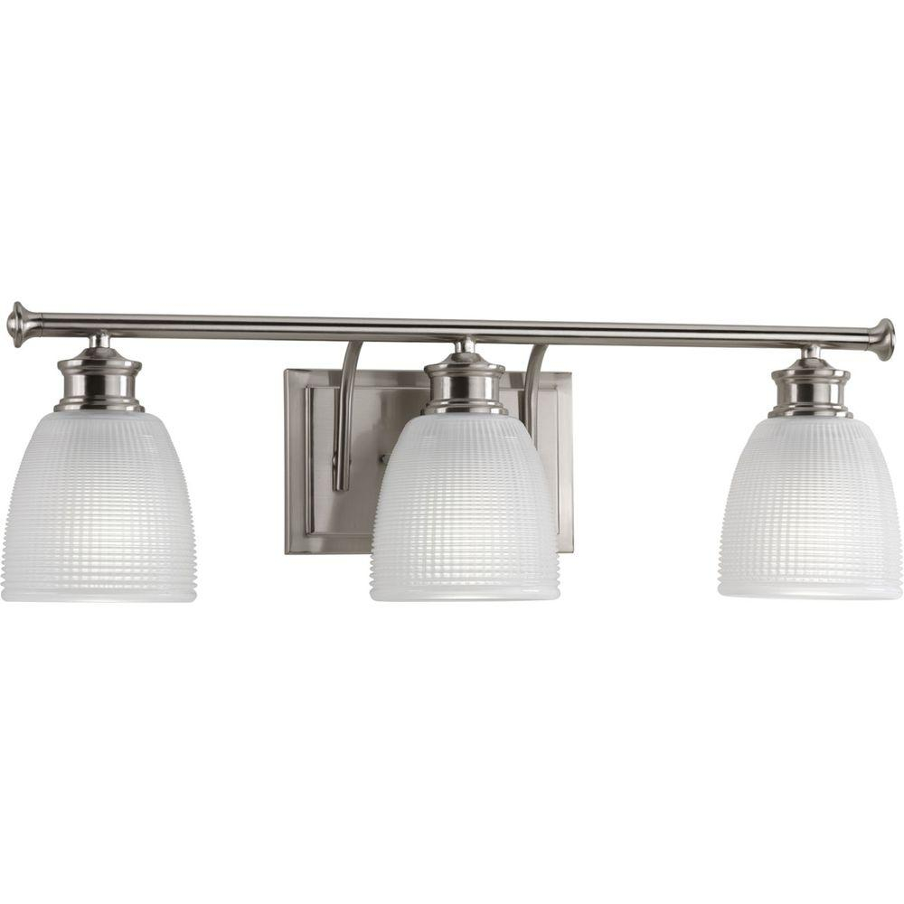 Progress Lighting Lucky Collection 3 Light Brushed Nickel Bathroom Vanity Light With Glass Shades inside sizing 1000 X 1000
