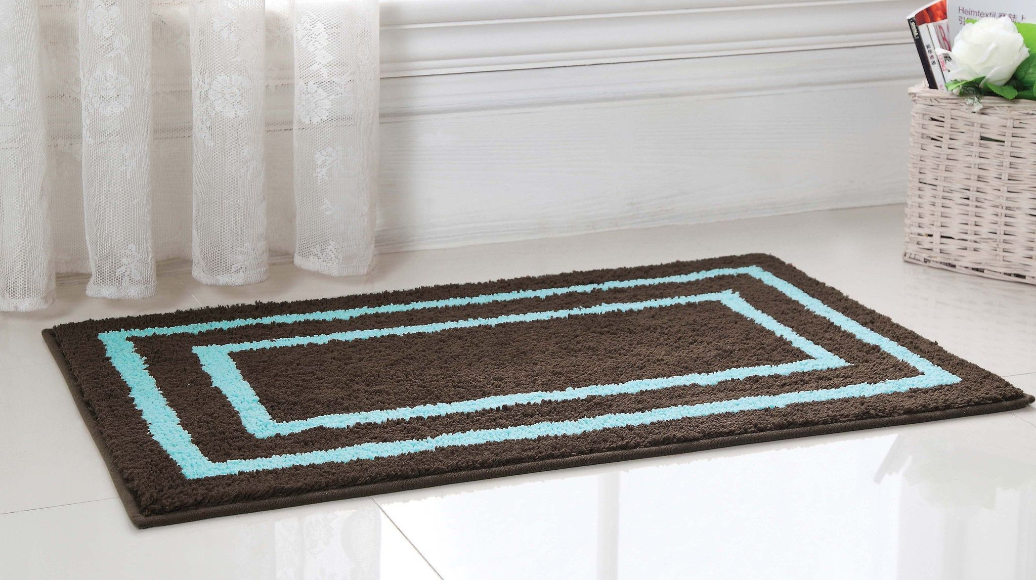 Regency Manor Microfiber Bath Rug 21x34 Brown Blue Products with sizing 2048 X 1147
