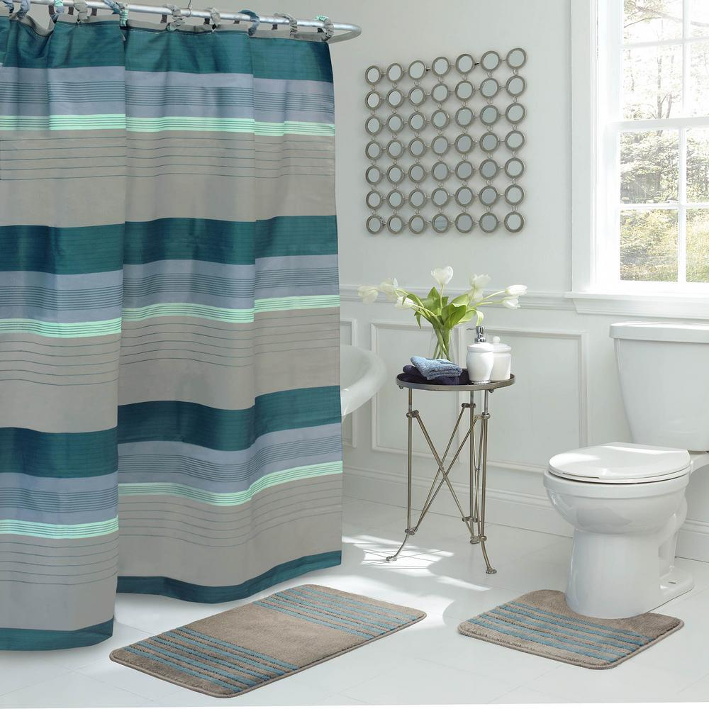 Regent Stripe 30 In L X 18 In W 15 Piece Bath Rug And Shower Curtain Set In Blue And Grey for size 1000 X 1000