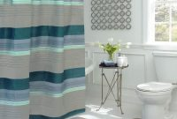 Regent Stripe 30 In L X 18 In W 15 Piece Bath Rug And Shower Curtain Set In Blue And Grey intended for measurements 1000 X 1000