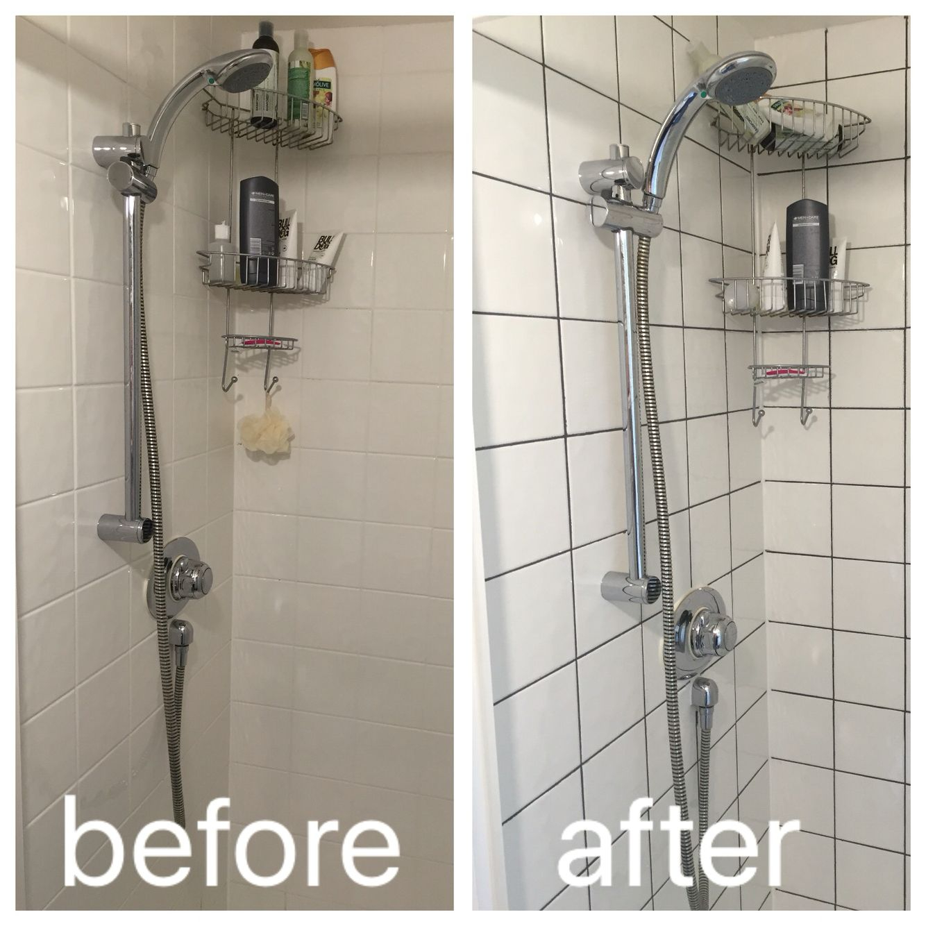 Regrouting With Dark Grey Grout To Modernise A Boring Shower with regard to dimensions 1334 X 1334