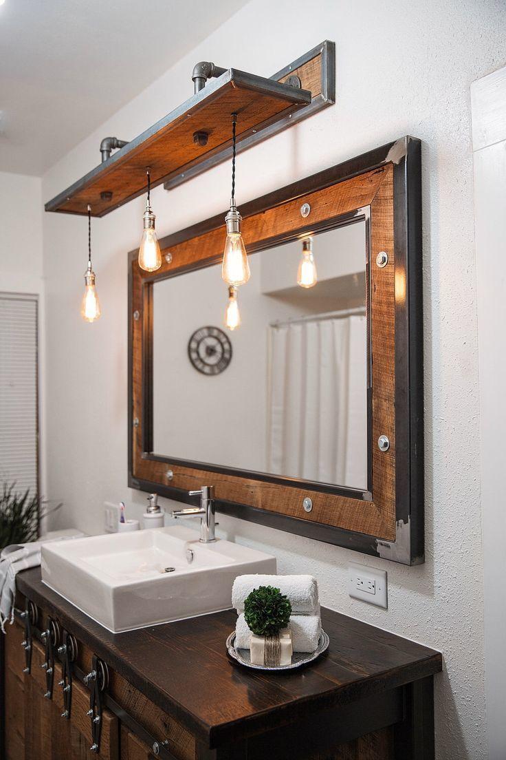 Rustic Bathroom Vanity Lights 36 Bathroom Ideas Rustic within size 736 X 1104
