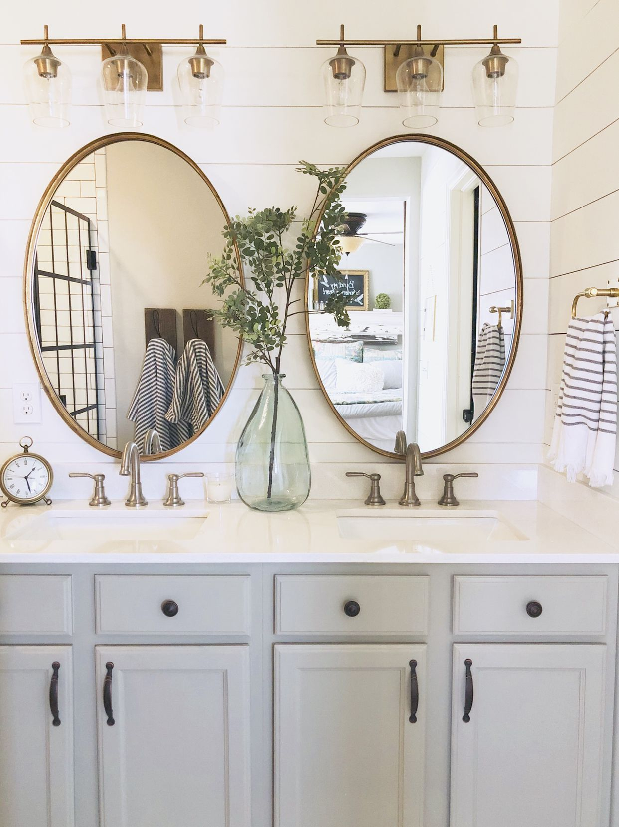 Shiplap Brass Lighting Oval Mirrors Mixed Metals Our intended for sizing 1242 X 1658