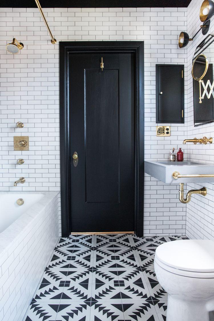 Small Bathroom Ideas In Black White Brass Bathroom throughout dimensions 750 X 1125