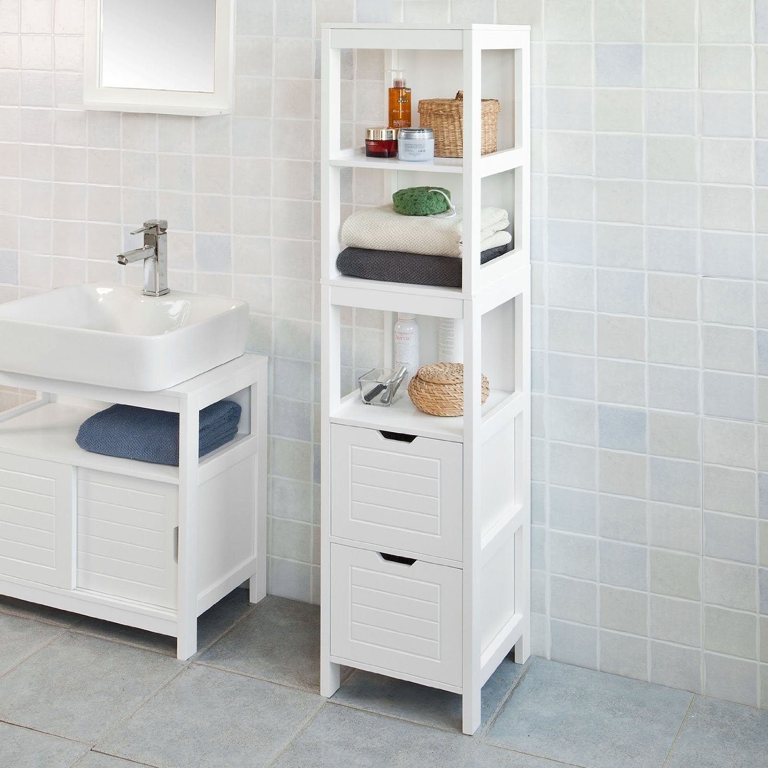Sobuy Frg126 W White Floor Standing Tall Bathroom Storage Cabinet With 3 Shelves And 2 Drawers within proportions 1500 X 1500
