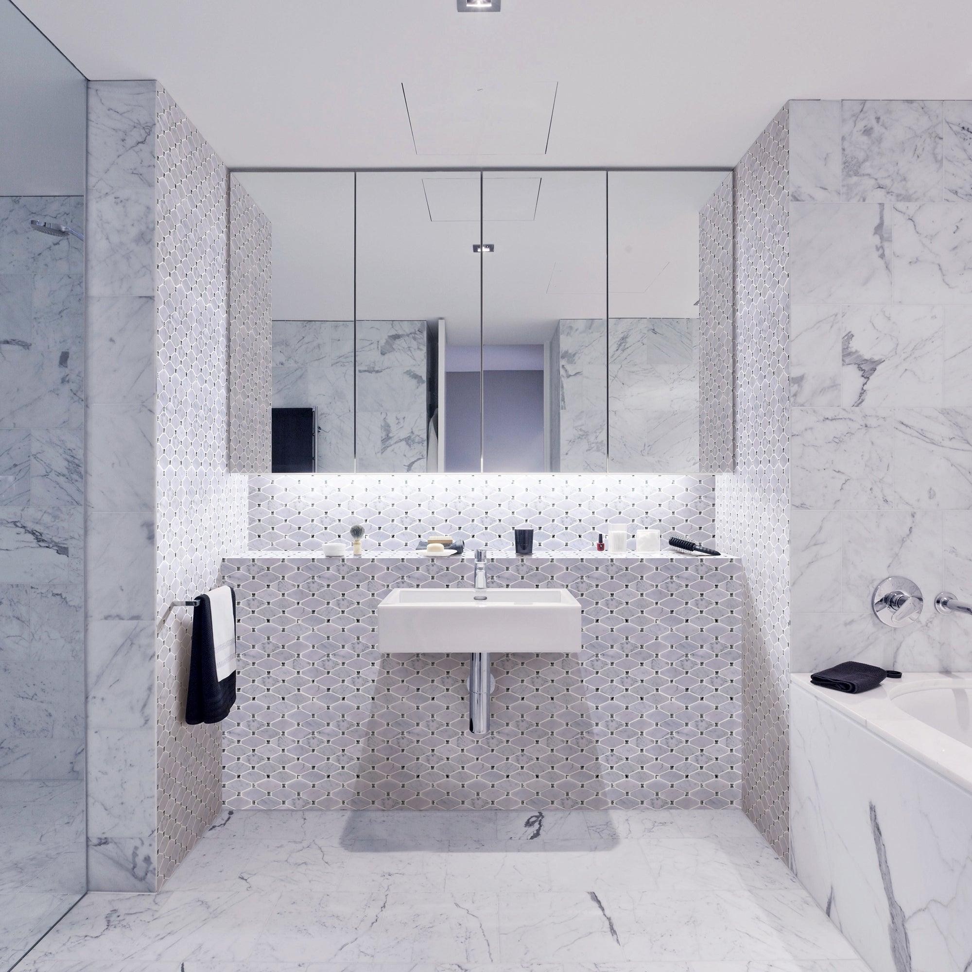 Tilegen Long Diamond Shape Cyrstal Marble Mosaic Tile In White Carrara Floor And Wall Tile 10 Sheets11sqft with measurements 2000 X 2000