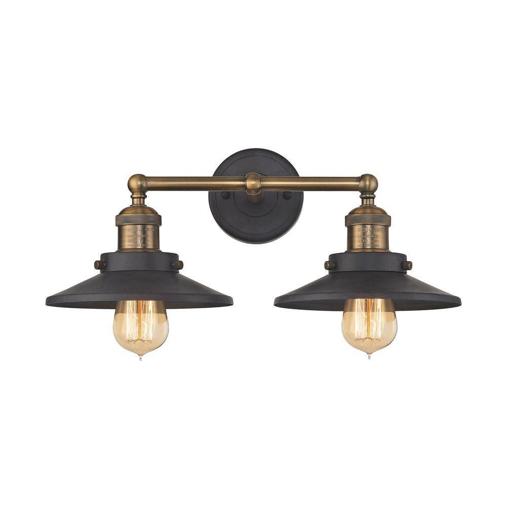 Titan Lighting English Pub 2 Light Tarnished Graphite And Antique Brass Vanity Light throughout sizing 1000 X 1000
