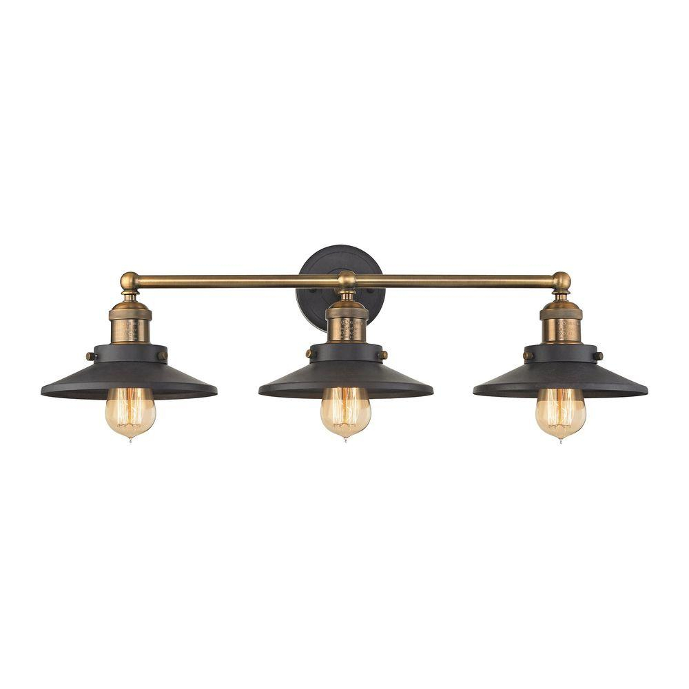 Titan Lighting English Pub 3 Light Tarnished Graphite And Antique Brass Vanity Light in size 1000 X 1000