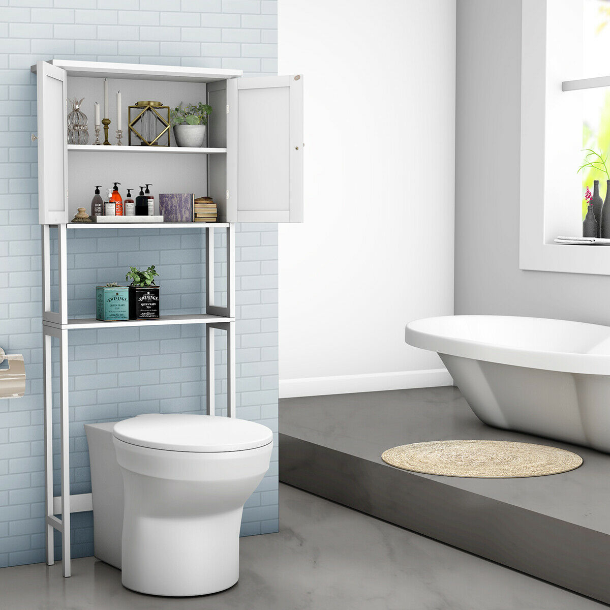 Toilet Over The Toilet Bathroom Storage Space Saver With Shelf Collect Cabinet White within sizing 1200 X 1200