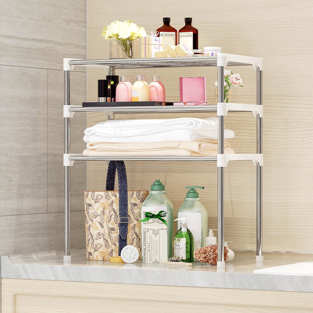 Us 1892 35 Off2 Tier Bathroom Book Shelf 3 Tier Multi Functional Kitchen Storage Shelf Table Rack Microwave Oven Shelving Unit In Storage Holders throughout size 1000 X 1000