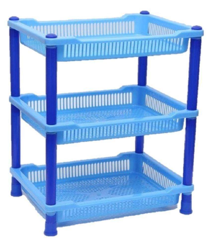 Vihaa Kitchen Rack Plastic Rack Bathroom Rack Office Trolley 3 Tier Rectangle Shelf Kids Organizer Rack Multipurpose Storage Rack Blue with regard to proportions 850 X 995