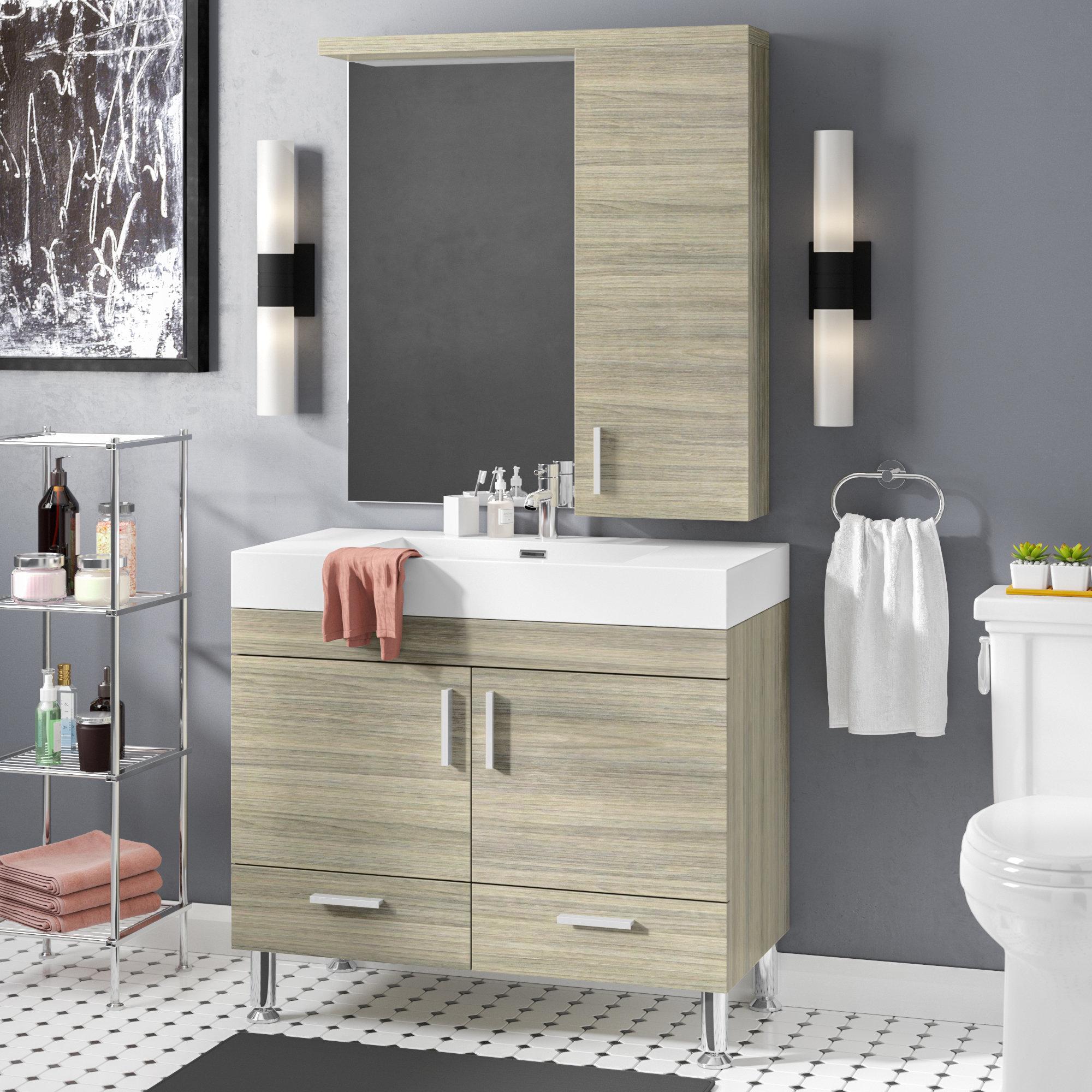 Waldwick 36 Single Modern Bathroom Vanity Set With Mirror regarding proportions 2000 X 2000