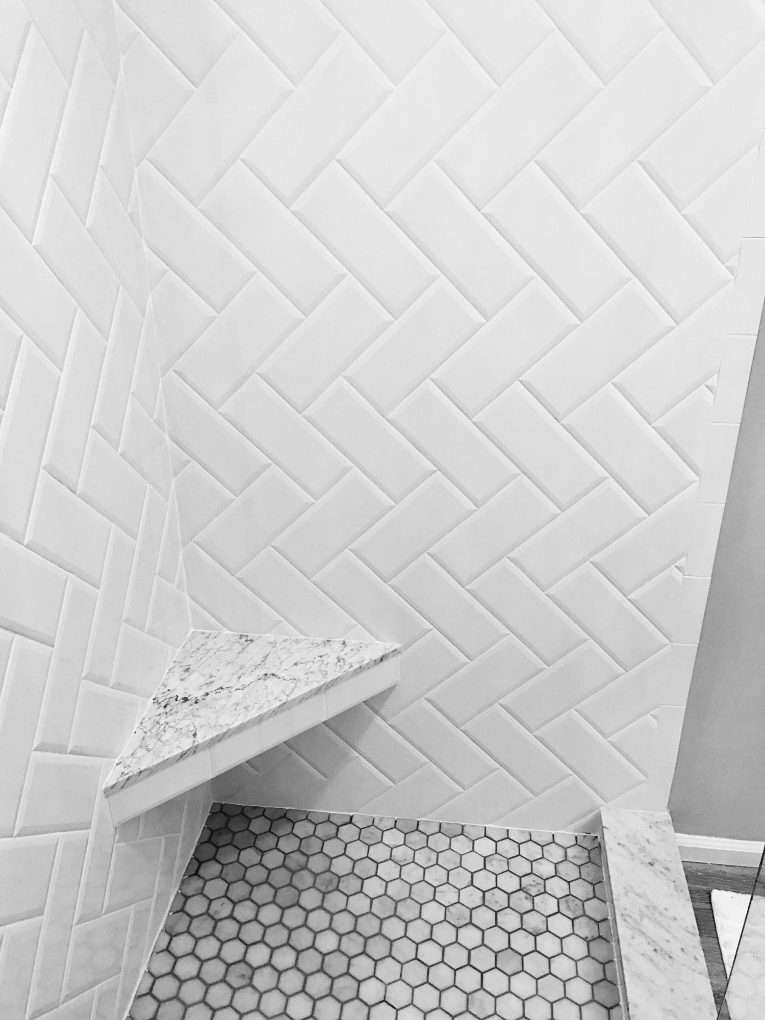 White Beveled Subway Tile Herringbone Pattern Marble in proportions 1500 X 2000