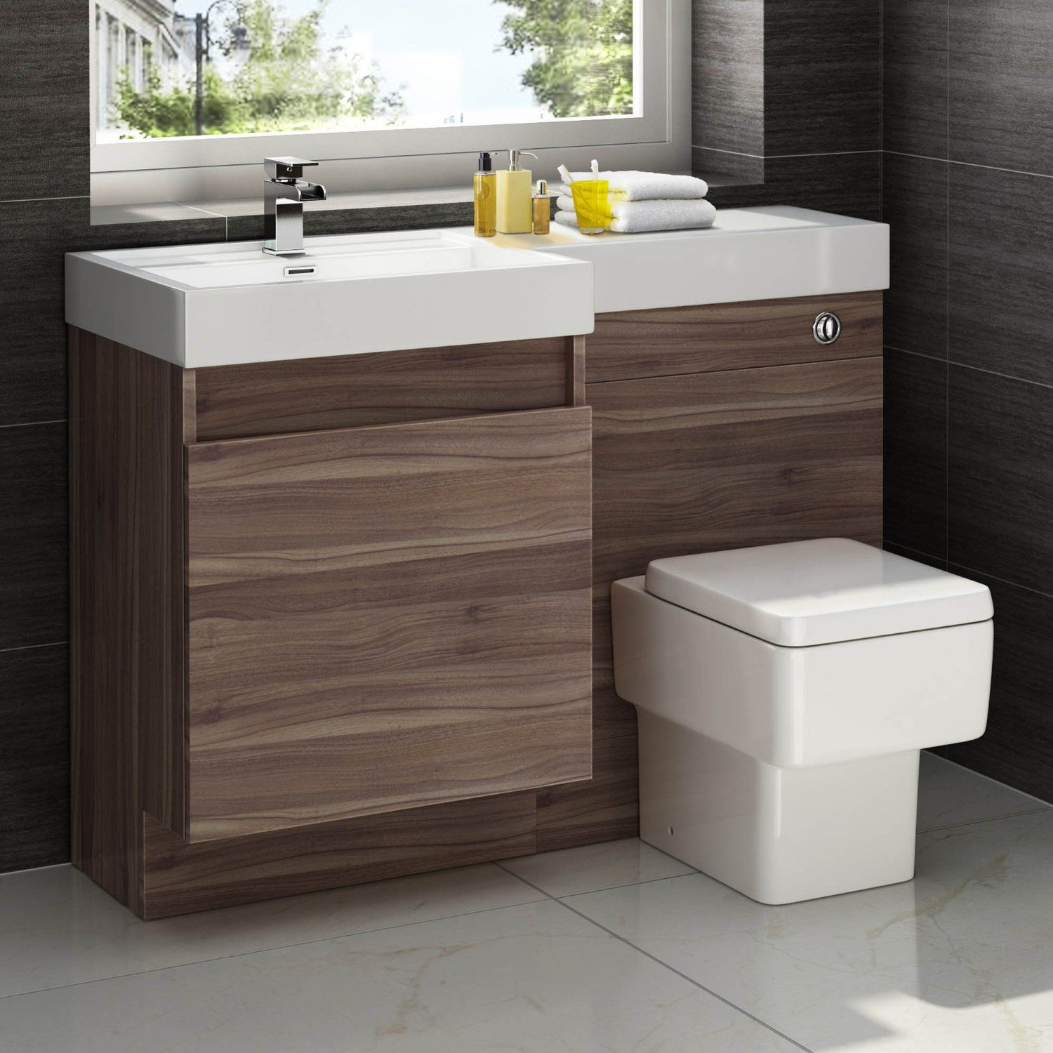 1200mm Walnut Vanity Unit Square Toilet Bathroom Sink Left within size 1500 X 1500