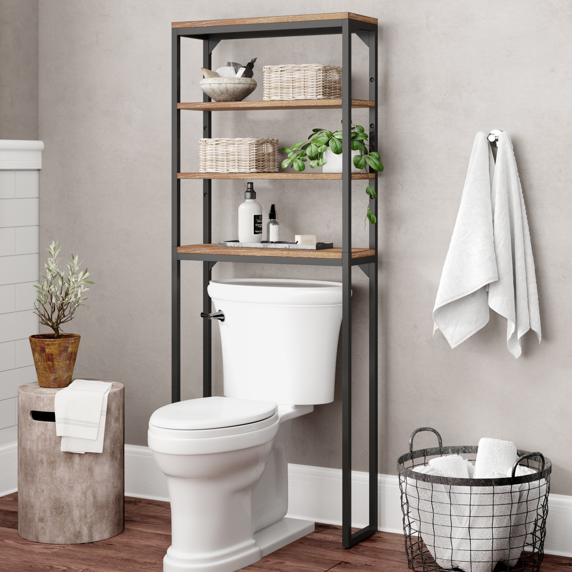 17 Stories Eckles 25 W X 64 H Over The Toilet Storage with proportions 2000 X 2000