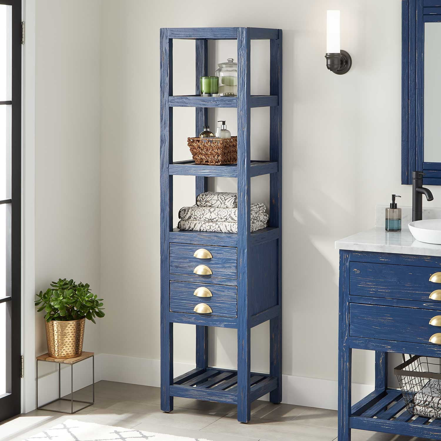 18 Benoist Bathroom Linen Storage Cabinet Rustic Navy Blue regarding dimensions 1500 X 1500